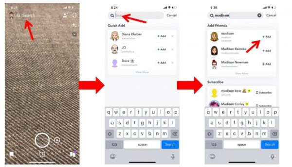 Add friends to Snapchat using the search function