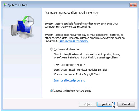 Restore files and system configurations