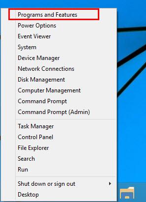 Win X 10 menu window